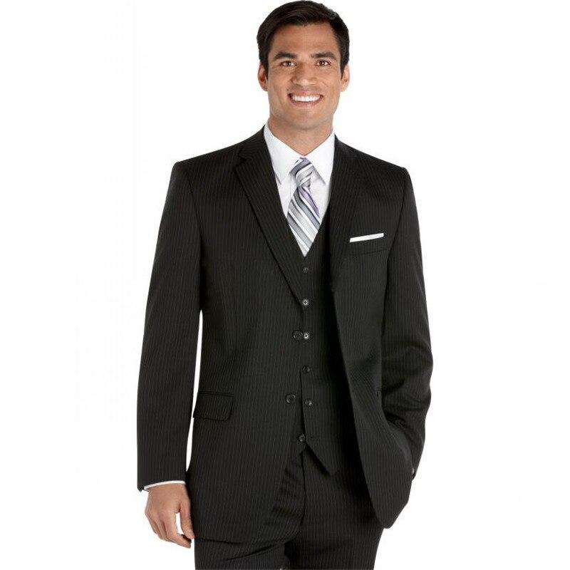 Custom Made To Measure Chalk Stripe Men Suits,Bespoke Charcoal, Grey,Black, Dark Navy Blue Groom Tuxedos For Men,Business Suits