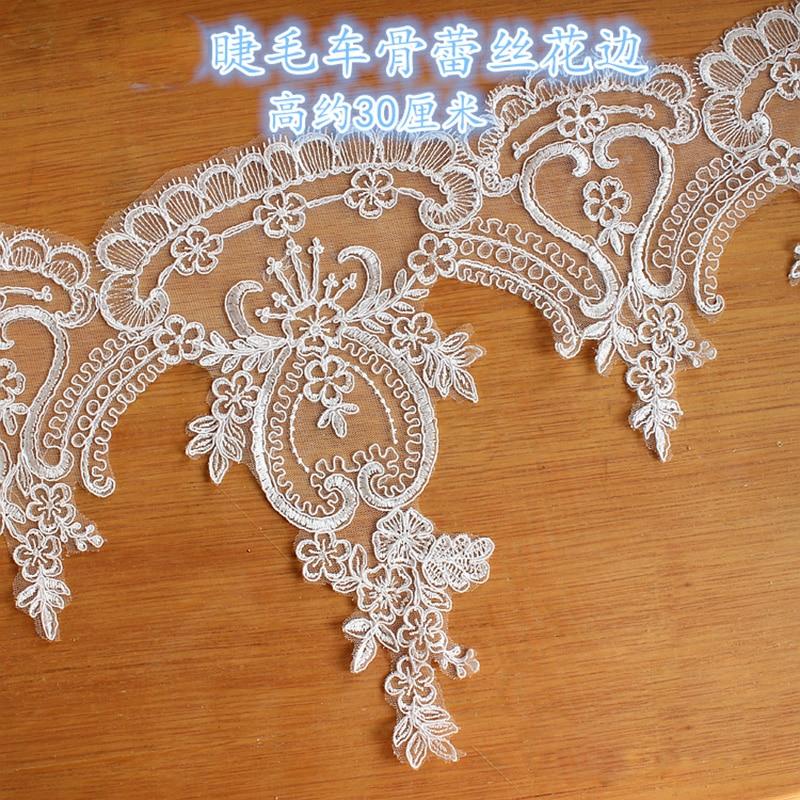 1 yarda de marfil de alta calidad de encaje accesorios de vestido de novia DIY Manual de tela Diadema con velo de novia Material de cuello falso