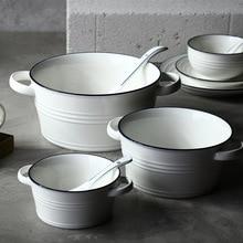 Nordic Classic Design Tablewares Blue Black Rim Soup Bowl Salad Bowls with Handles 400ml 950ml 2000ml House Restaurant Use