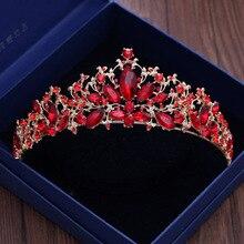 Baroque Vintage or rouge cristal feuille mariée diadème cheveux vigne strass reconstitution historique couronne mariées bandeau mariage cheveux accessoires