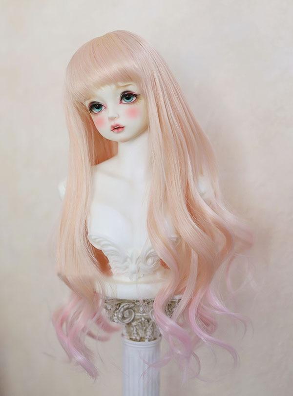 Парики Для шарнирных кукол персикового цвета градиентные Розовые Смешанные парики с длинными кудрявыми волосами для 1/3 1/4 BJD DD SD MSD YOSD куклы высокотемпературные синтетические парики