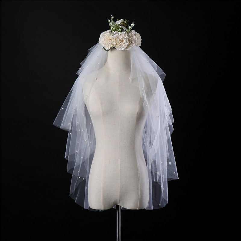 In Stock Wholesales China Low Price Cheap White Ivory Short Bridal Veils Beaded Pearl Wedding Veils Length to Hips Multi Layers stock price puzzle