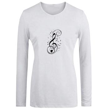violin Retro Art Music notation Treble clef  JDM Red Car Design Womens Ladies Printing T Shirt Graphic Tee Long Sleeve Cotton