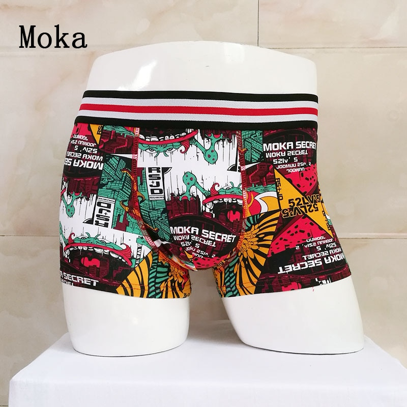 Moka Hot High Quality Men's Boxers Shorts Graffiti Cartoon Printing Cotton Underwears  men boxer Personality Trend Underpants