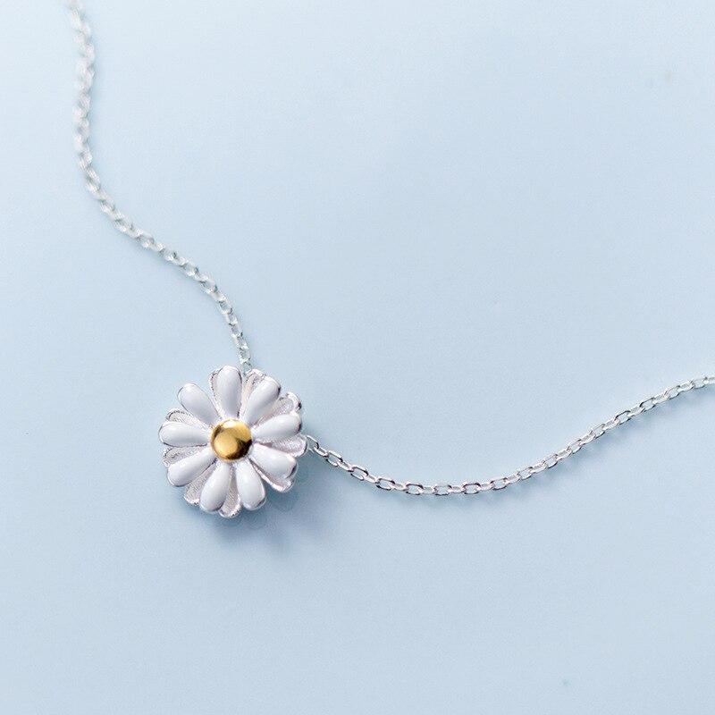 MloveAcc 100% Collar de plata de ley 925 con flores margaritas amarillas para mujer, joyería de plata de lujo