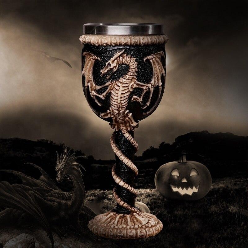 Taza de calavera gótica 3D de acero inoxidable con diseño de esqueleto de Dragón Volador de resina para Bar, fiesta, casa, vino, tazas tipo Cáliz, regalos de Halloween