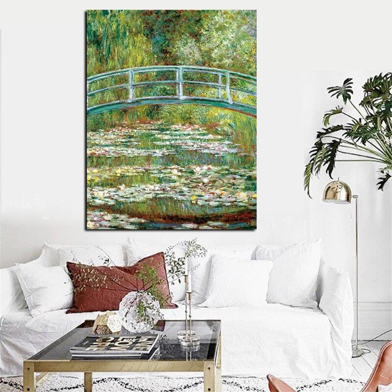 Постер с принтом Клода монета, водяные лилии и японская картина маслом на холсте, Настенная картина, импрессионист для гостиной