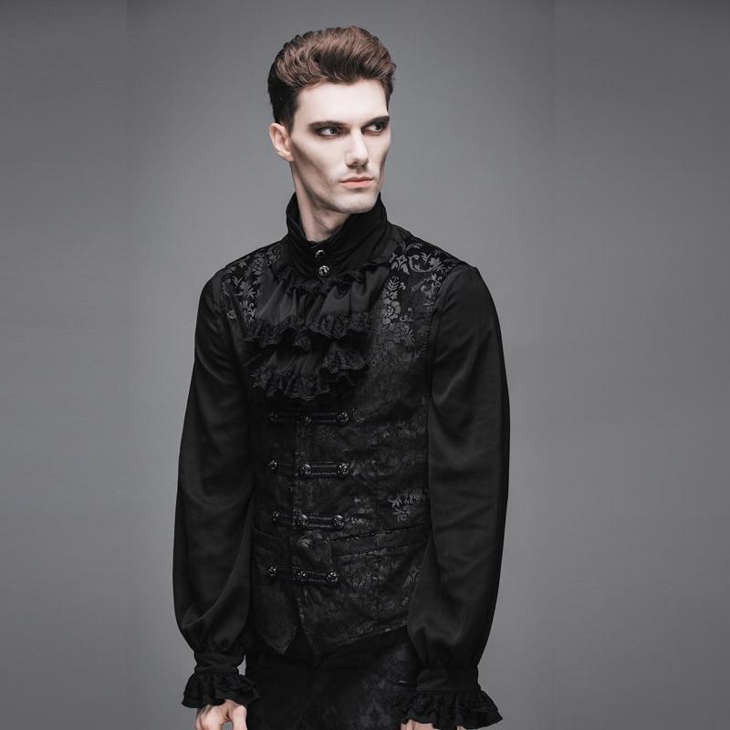 الشيطان الموضة Steampunk القرون الوسطى السادة سترة سوداء صدريات القوطية الفيكتوري أكمام المخملية سترة للرجال