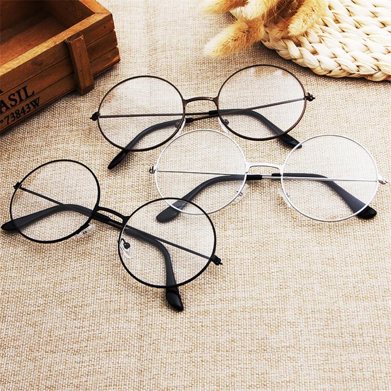 Popular Vintage Style Unisex Round Metal Clear Lens Glasses Frame Trendy Women/Men Nerd Anti-radiation Spectacles Eyeglass Frame