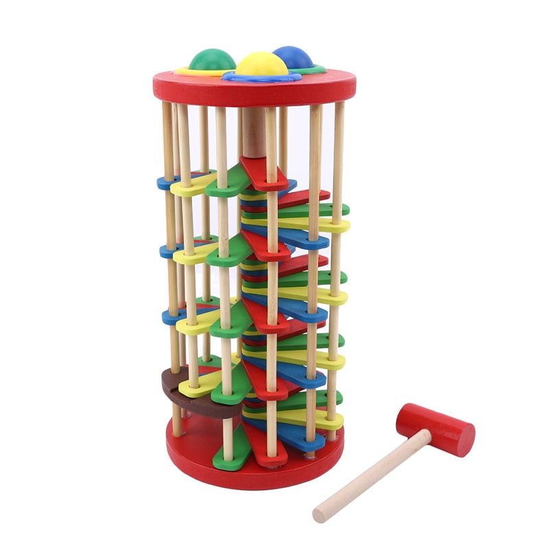 Деревянные башня с молотком, в рулоне, для раннего образования, для детей, игрушки, Лидер продаж