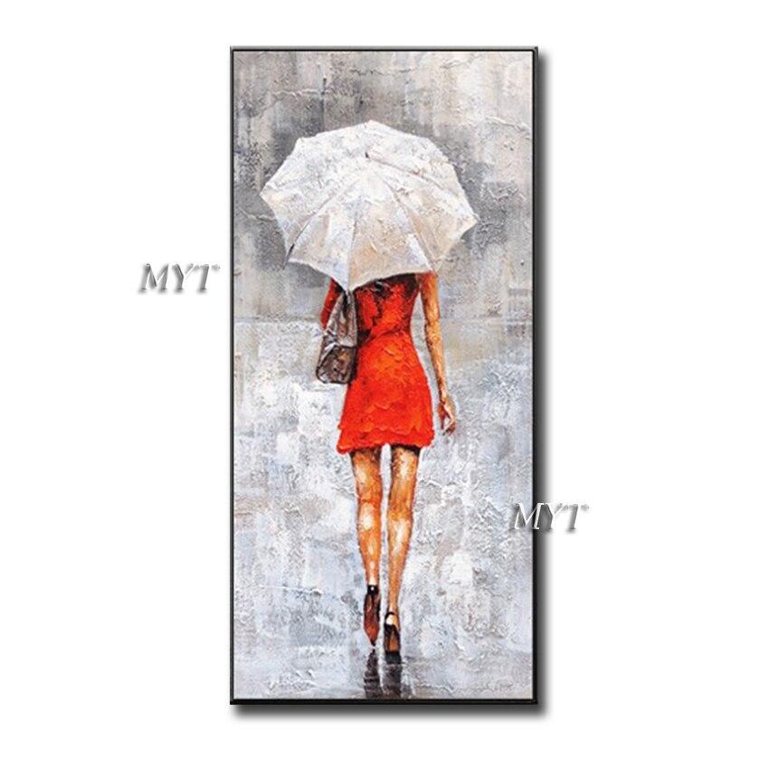 Pintura a Óleo sobre Tela Vermelha com Guarda-chuva para Quartos Sala de Estar Hand-painted Abstrato Figura Beleza Menina Saia Casa Decoração