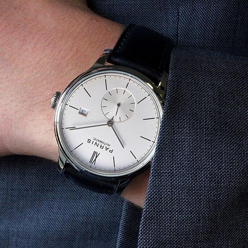 Parnis relojes mecánicos reloj minimalista para hombre reloj de pulsera de lujo impermeable automático hombre Relogio Masculino 2020 calendario