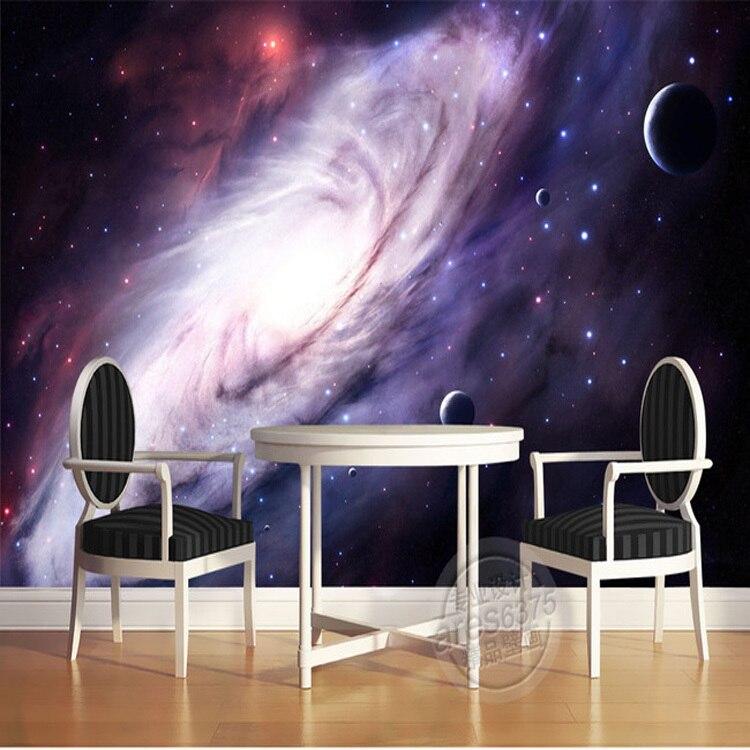 3d roxo galáxia papel de parede para o quarto encantador mural da parede de seda foto pintura da arte do teto quarto do miúdo decoração