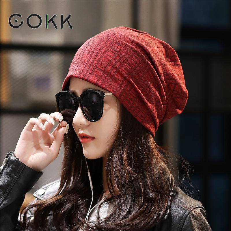 COKK 2020 nueva boina de lana Casual primavera otoño para mujer sombrero gorro sombrero tejido Mujer a prueba de viento gorros coreanos de algodón para mujer