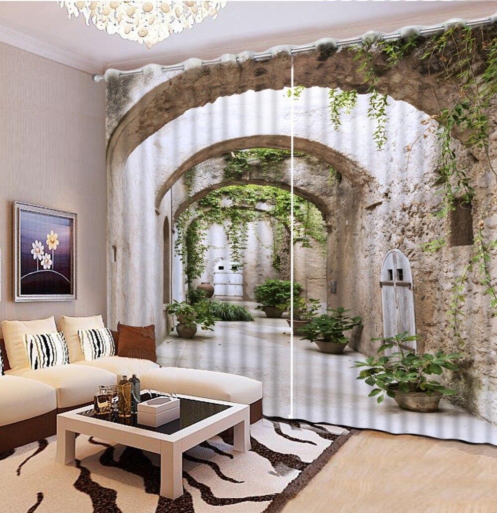 Decoración moderna para el hogar sala de estar cortinas de habitación 3d pasillo paisaje cortina cocina de moda hermosas cortinas opacas