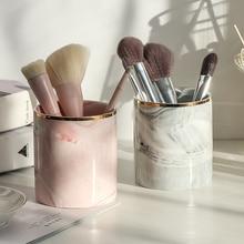 Ethéréal Europe boîte de rangement   Tube de rangement de brosses à maquillage, crayon à sourcils, organisateur de maquillage, boîte de rangement de bijoux à motif en marbre