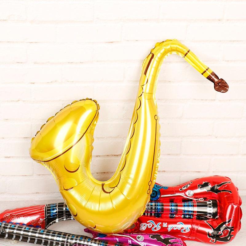 1 unidad de globos de aluminio de saxofón de guitarra de dibujos animados suministros para fiesta de Carnaval globos de aire inflables juguetes para niños globo de cumpleaños
