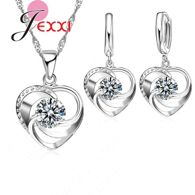 AliExpress - Top Quality 925 Sterling Silver Wedding Jewelry Set Necklace Earrings For Women Crystal Heart LOVE Anniversary Gift