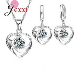 Женский комплект ювелирных изделий из серебра 925 пробы, серьги с кристаллом в виде сердца, Подарок на годовщину