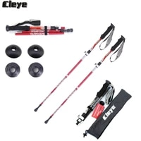 joshock cleye 2pcslot aluminum alloy folding stick 4 joint telescopic trekking pole portable walking stick with lock system