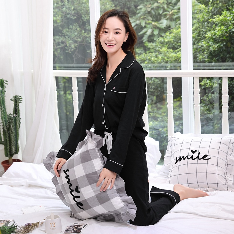 Euro-Amer New Knitted Cotton Pajamas Feminine Sleepwear Women Pyjama Set Cotton Home Clothes for Women Spring Autumn Long PJS