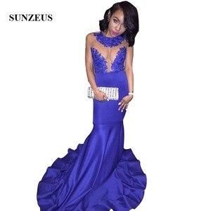 Royal Blue Mermaid Prom Dress Sleeveless Tank Appliques Sheer Top Long Party Gowns vestido formatura longo de noite