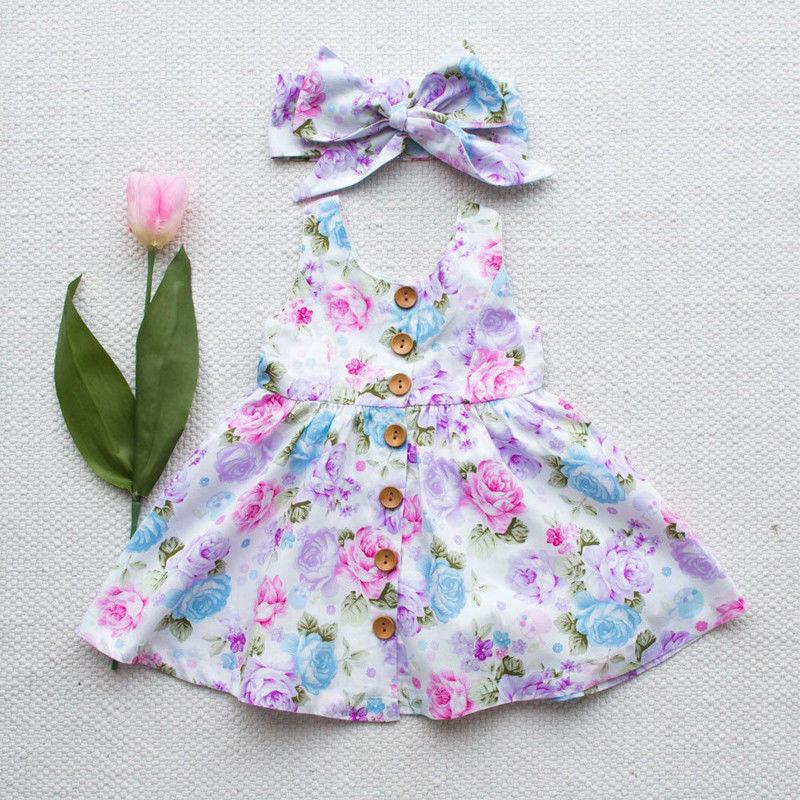 Vestido para meninas, 2017 2 pçs; vestido de verão para crianças; vestido de algodão floral para bebês; vestido de festa para o verão; bonito vestido de princesa + bandana conjunto de