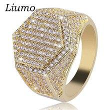 Liumo Punk Stijl Hip Hop Rock Gold Kleur Mannen Hexagon Biker Sieraden Ring Lr842