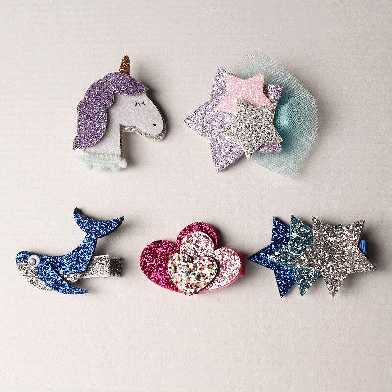 10pcs/lot Glitter Felt Unicorn Hair Clips Fish Pink Hearts Blue Stars Hairpins Gauze Lovely Kid Hair Clip Hair Accessories 2017