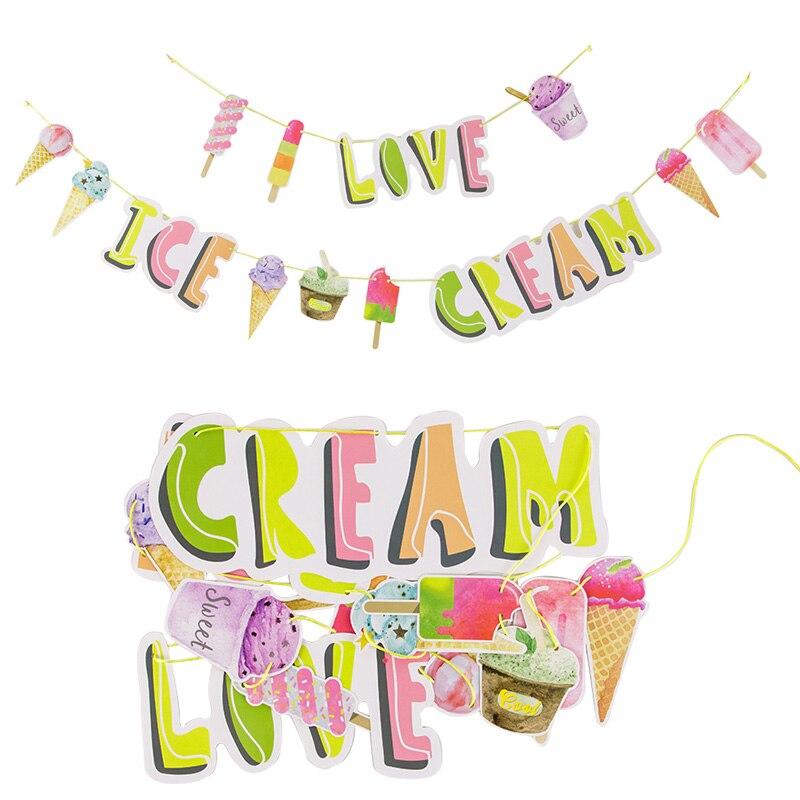 Amor helado bandera empavesado de papel Garland helado de cono de helado de cumpleaños de los niños de verano tropical Luau Hawaiano fiesta Decoración