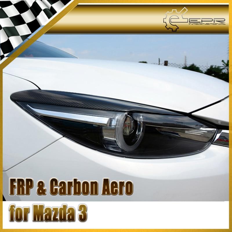 Coche-estilo de fibra de carbono faro ceja brillante fibra acabado párpados parachoques Auto cuerpo Kit apto para Mazda 3 axela BM 2014