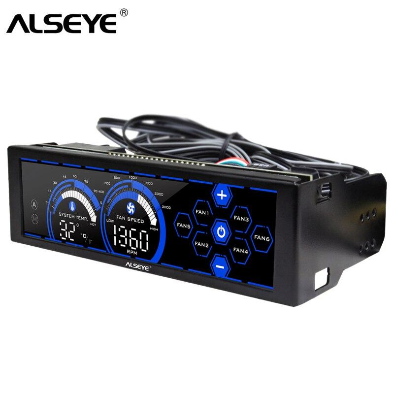 Alseye controlador do ventilador para o refrigerador 80mm 90mm 120mm ventilador de refrigeração 6 canais velocidade e controle temperatura