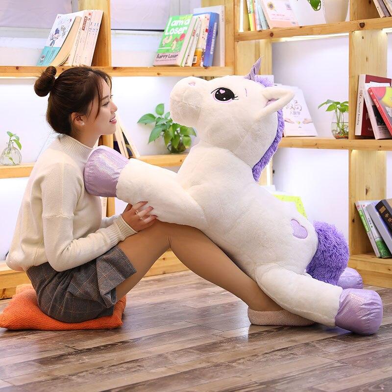 1pc 60-110cm Unicornio grande de peluche de juguete suave muñeca de Unicornio lindo Rosa Caballo Blanco juguetes de peluche regalo de cumpleaños para niños
