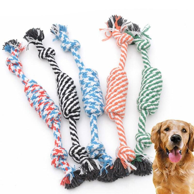 Juguete para perro de 24cm, nudo de cuerda de algodón, mascota cachorro masticable, juguetes para perros, divertido juguete para perros, herramientas de limpieza de dientes molares, nudo de mordida, accesorio para mascotas