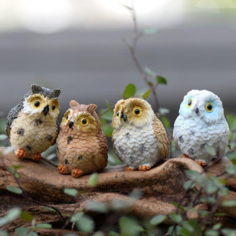 4 pçs/set Bonito Artificial Estatuetas Da Coruja aves encantadoras Miniaturas fairy garden gnome resina artesanato decorações acessórios para casa