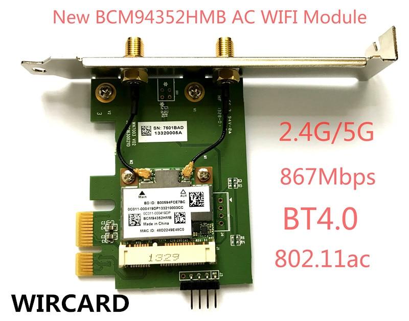 WIRCARD  BCM94352HMB 802.11ac 867Mbps Wireless-AC WLAN+Bluetooth BT 4.0 PCI-EX1 Wireless Desktop Wifi card
