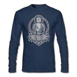 Long Sleeve Slim Casual Shirts Firm man Siddhartha Gautama Tshirt Gautama Buddha Halftone Unique man Clothing Free shipping