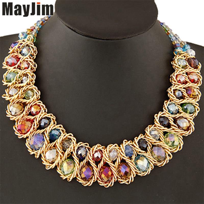 Wholesale 12pcs Statement necklace Fashion for Women 2018 Big Gold Chain Crystal Choker Bead Necklaces & Pendants Accessories