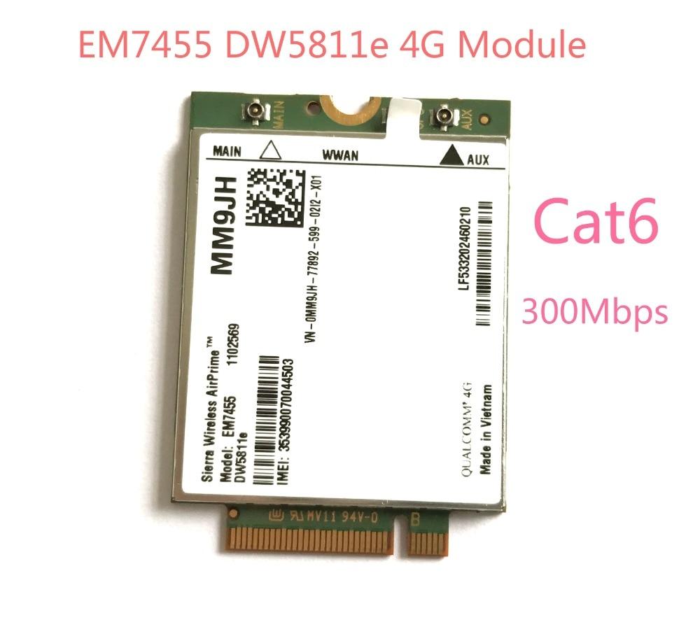EM7455 DW5811e LTE-FDD 4G модуль 4G карта Cat6 для Dell ноутбука PN мм9jh