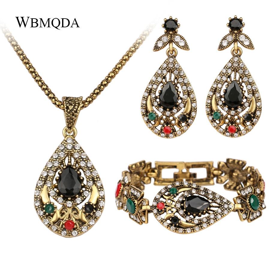 3 Pcs/lot Unique Vintage Gold Indian Jewelry Sets Crystal Hollow Out Geometric Statement Necklace Bracelet Earrings For Women