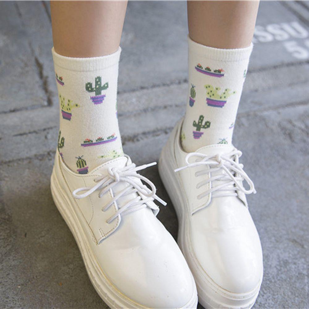 1 par primavera verano Mujer chica diseño de cactus cómodo bonito calcetines de algodón para mujer Casual cálido suave calcetines divertidos