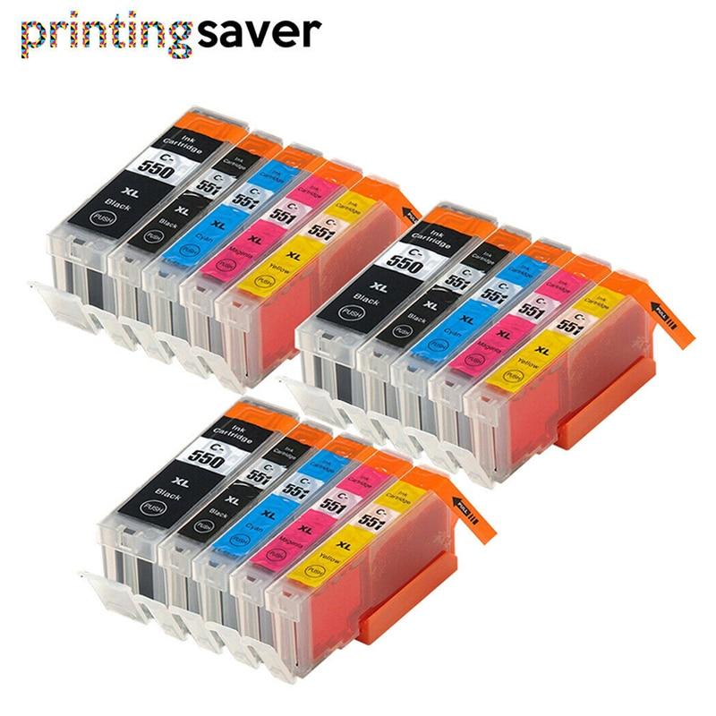 15 x cartucho de tinta Compatible PGI550 CLI551 para Canon IP7250 MG5450 MX925 MG5550 IX6850 MX725 MG5650 MG6650 MG6350 MG6450 MG5400