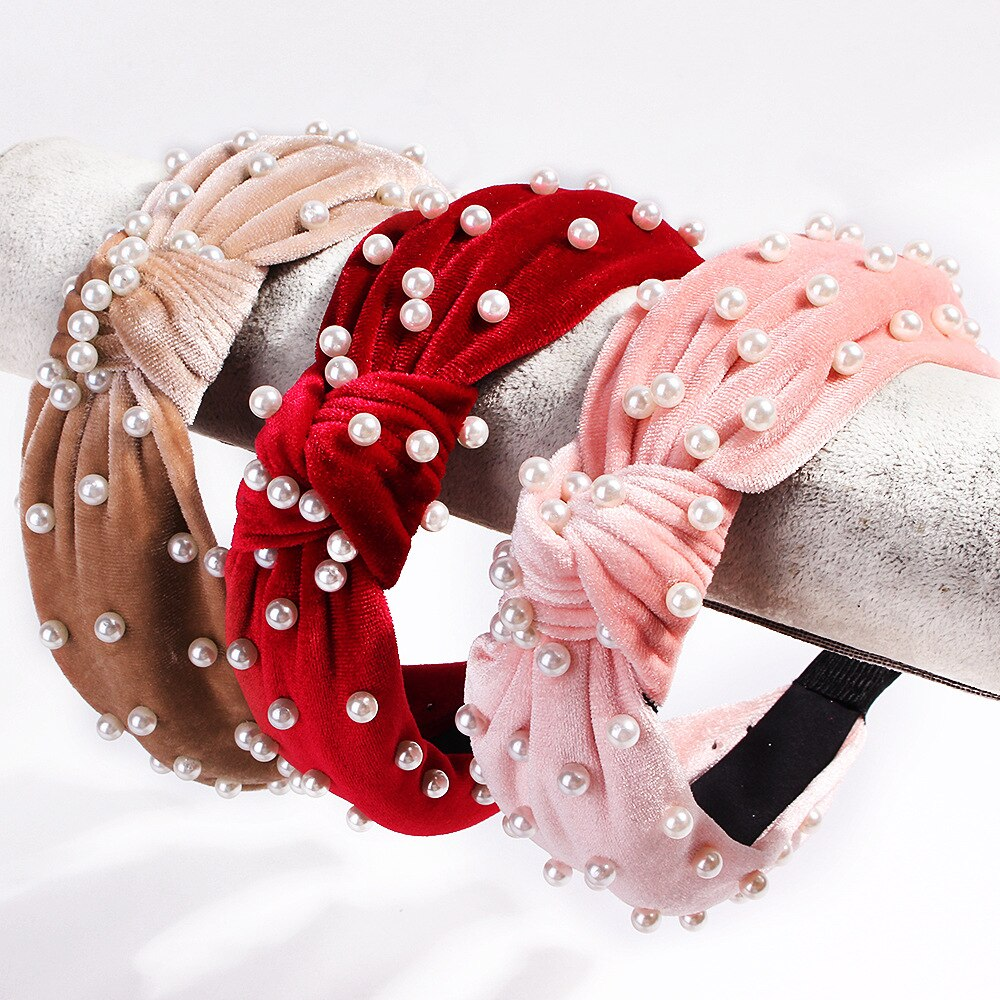 Diademas elegantes de franela con perlas para mujeres y niñas, diademas elásticas suaves para lavar la cara, accesorios para el pelo turbante
