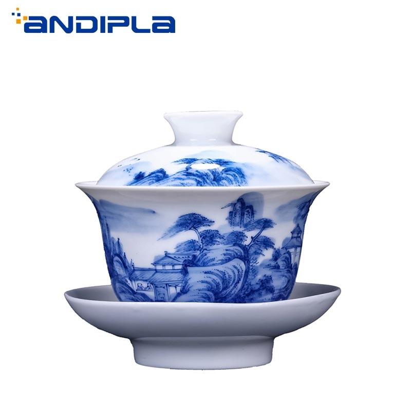 200ml Boutique Jingdezhen azul y blanco porcelana paisaje Gaiwan fabricante de té kungfú chino juego de té tazón maestro tetera