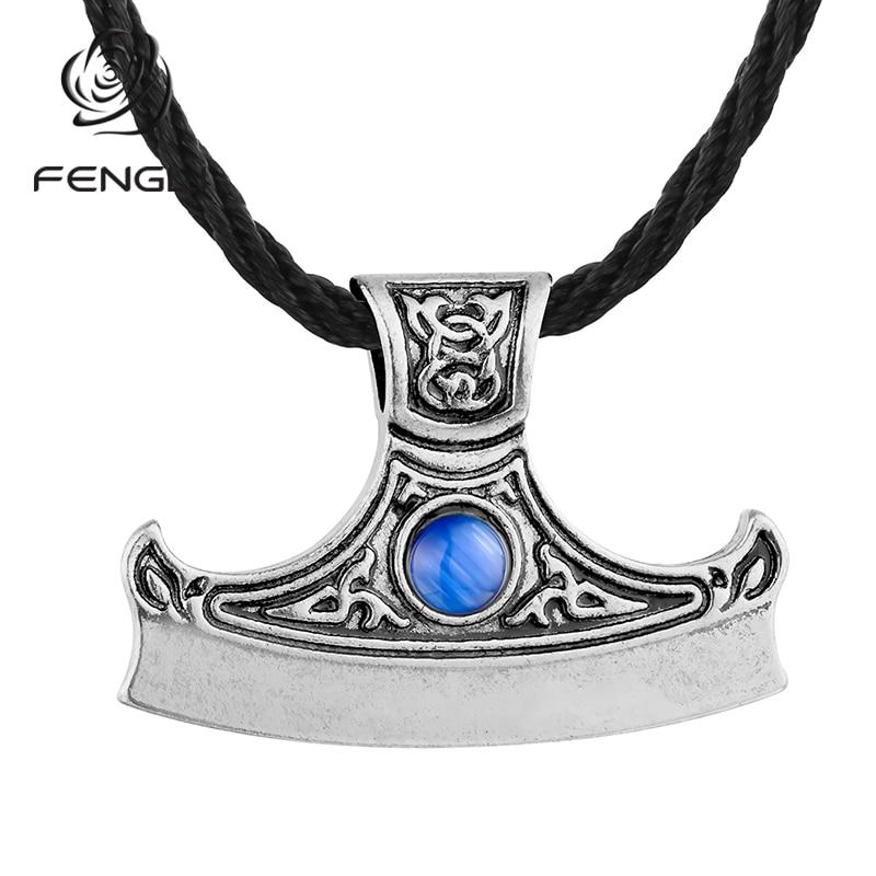 Мужские и женские амулет FENGLI, Синие стразы топор, амулет, символ коловрата, топор викинга