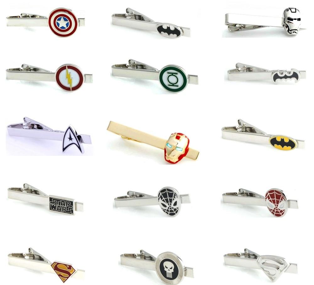 iGame Men Tie Clips Various Designs Option Novel Superheroes Design Copper Material Men Tie Pins Who