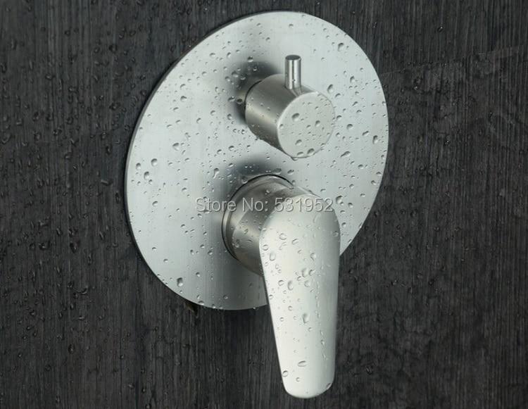 حنفية خلاط مستديرة من الفولاذ المقاوم للصدأ 304 مع 3 وظائف مثبتة على الحائط ، مع صمام تشغيل مخفي