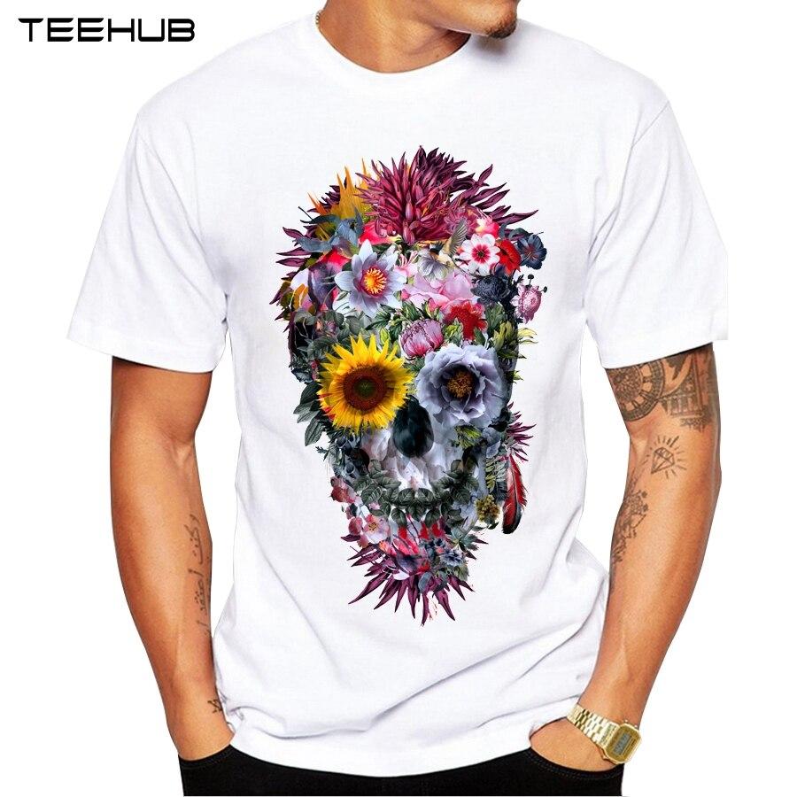 2019 hombres camisetas de moda vudú cráneo diseño de manga corta Casual Tops Hipster flor cráneo impreso camiseta Cool Tee