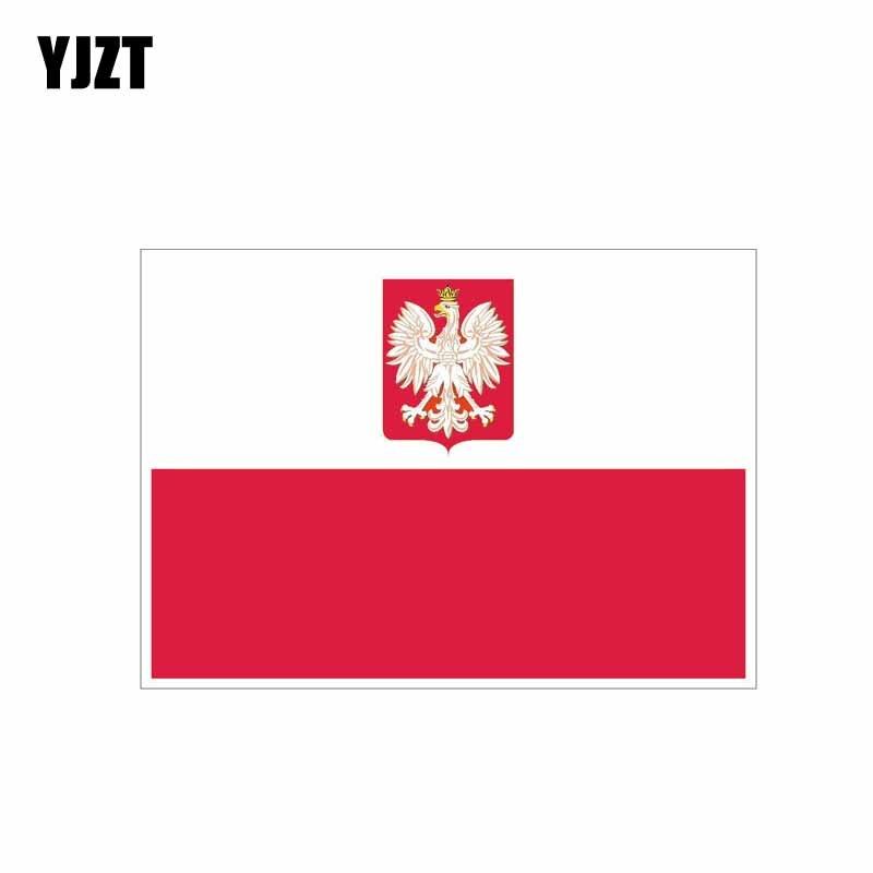 YJZT 11,4 CM * 7,9 CM personalidad Polonia Etiqueta de bandera motocicleta divertida pegatina PVC para coche 6-0442