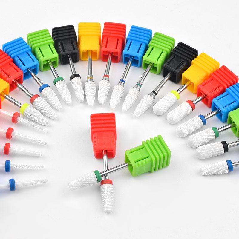 Juego de brocas de cerámica para uñas, accesorios de máquina de manicura, limas giratorias eléctricas para uñas, herramientas de manicura y fresado de 23 tipos